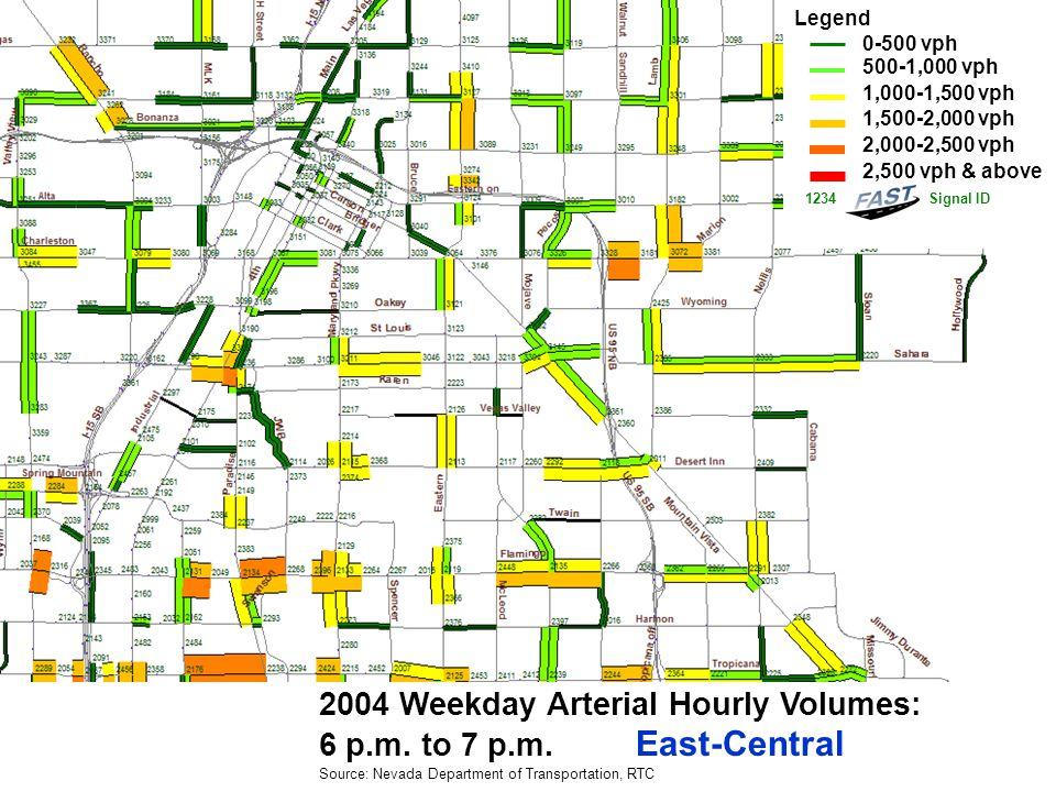 2004 Weekday Arterial Hourly Volumes: 6 p.m. to 7 p.m.