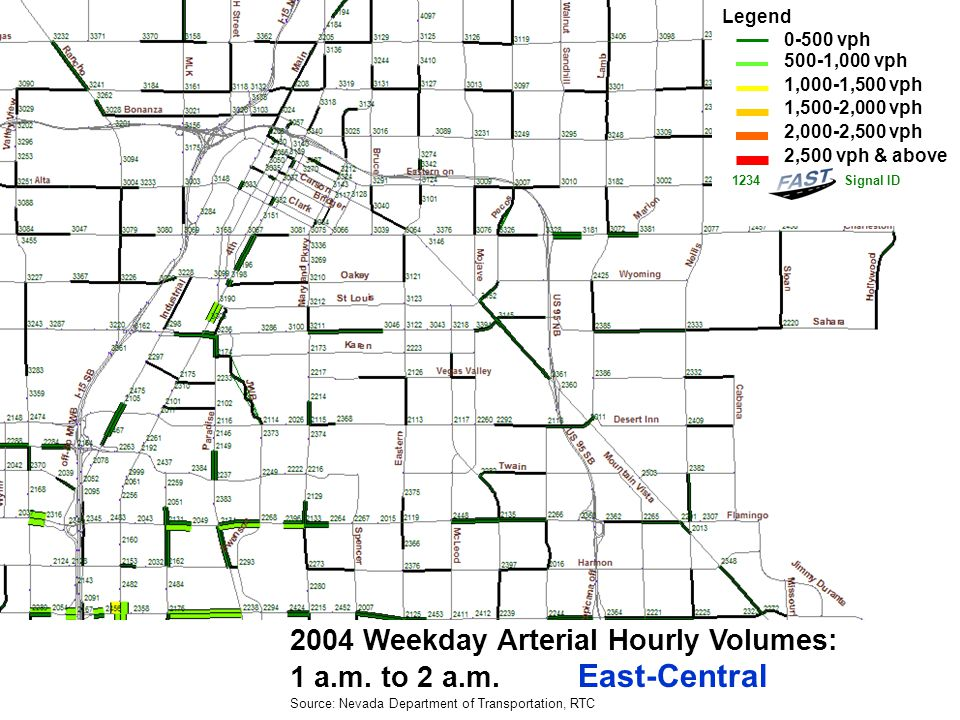 2004 Weekday Arterial Hourly Volumes: 10 p.m.to 11 p.m.