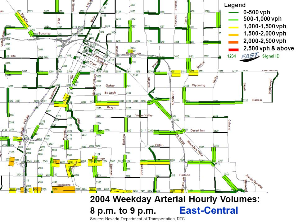 2004 Weekday Arterial Hourly Volumes: 8 p.m. to 9 p.m.