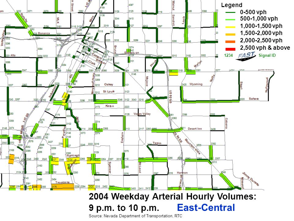 2004 Weekday Arterial Hourly Volumes: 9 p.m. to 10 p.m.
