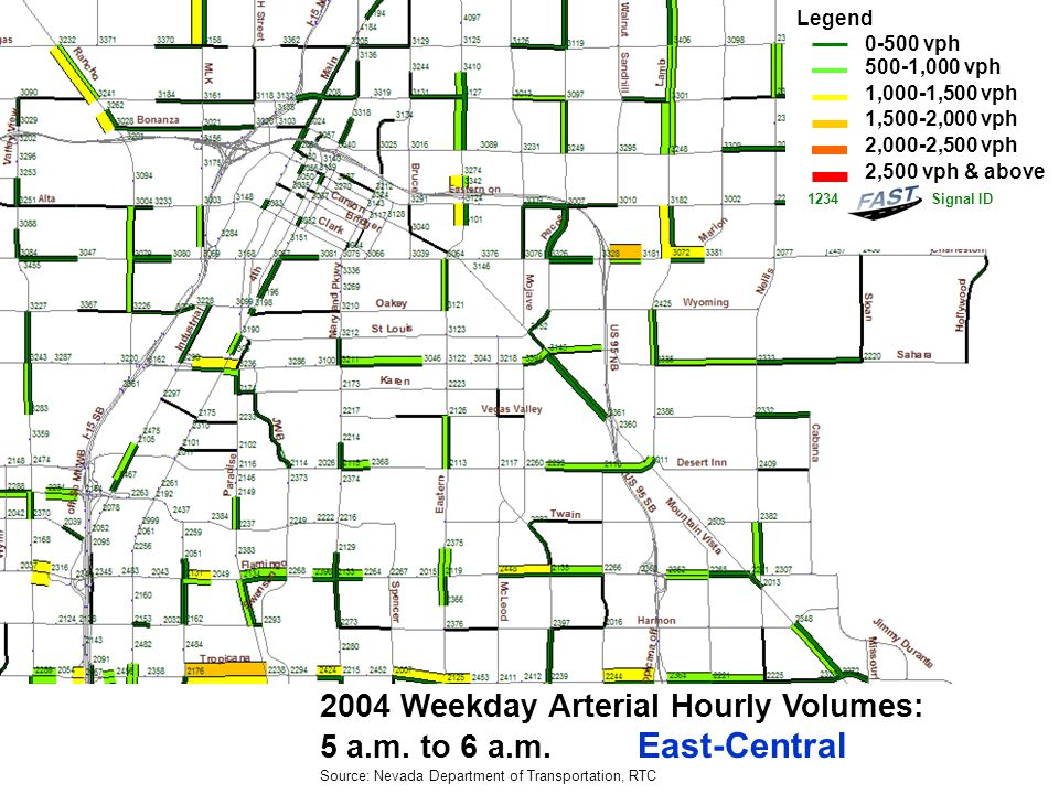 2004 Weekday Arterial Hourly Volumes: 6 a.m.to 7 a.m.