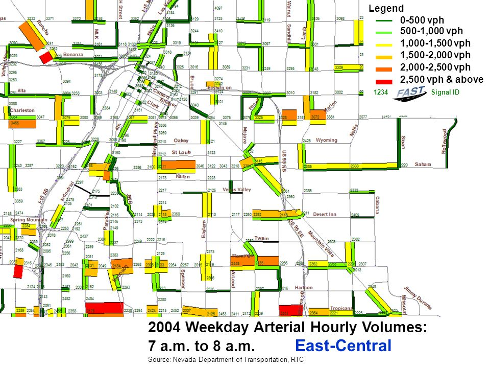 2004 Weekday Arterial Hourly Volumes: 8 a.m.to 9 a.m.