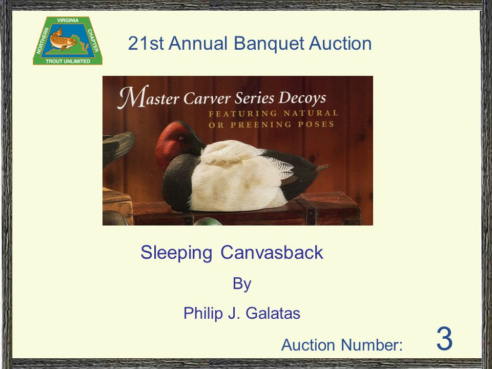 Auction Number: 21st Annual Banquet Auction 3 Sleeping Canvasback By Philip J. Galatas