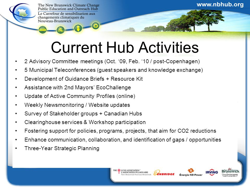 Current Hub Activities 2 Advisory Committee meetings (Oct.