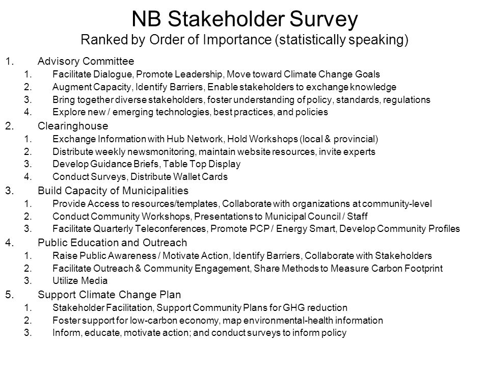 NB Stakeholder Survey Ranked by Order of Importance (statistically speaking) 1.Advisory Committee 1.Facilitate Dialogue, Promote Leadership, Move toward Climate Change Goals 2.Augment Capacity, Identify Barriers, Enable stakeholders to exchange knowledge 3.Bring together diverse stakeholders, foster understanding of policy, standards, regulations 4.Explore new / emerging technologies, best practices, and policies 2.Clearinghouse 1.Exchange Information with Hub Network, Hold Workshops (local & provincial) 2.Distribute weekly newsmonitoring, maintain website resources, invite experts 3.Develop Guidance Briefs, Table Top Display 4.Conduct Surveys, Distribute Wallet Cards 3.Build Capacity of Municipalities 1.Provide Access to resources/templates, Collaborate with organizations at community-level 2.Conduct Community Workshops, Presentations to Municipal Council / Staff 3.Facilitate Quarterly Teleconferences, Promote PCP / Energy Smart, Develop Community Profiles 4.Public Education and Outreach 1.Raise Public Awareness / Motivate Action, Identify Barriers, Collaborate with Stakeholders 2.Facilitate Outreach & Community Engagement, Share Methods to Measure Carbon Footprint 3.Utilize Media 5.Support Climate Change Plan 1.Stakeholder Facilitation, Support Community Plans for GHG reduction 2.Foster support for low-carbon economy, map environmental-health information 3.Inform, educate, motivate action; and conduct surveys to inform policy
