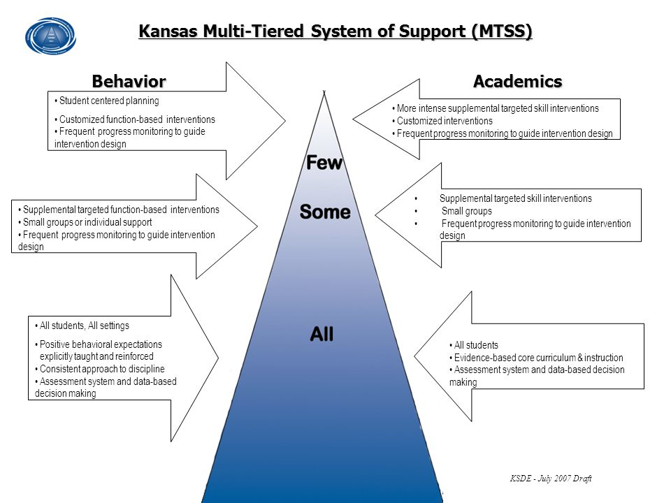 More intense supplemental targeted skill interventions Customized interventions Frequent progress monitoring to guide intervention design Kansas Multi