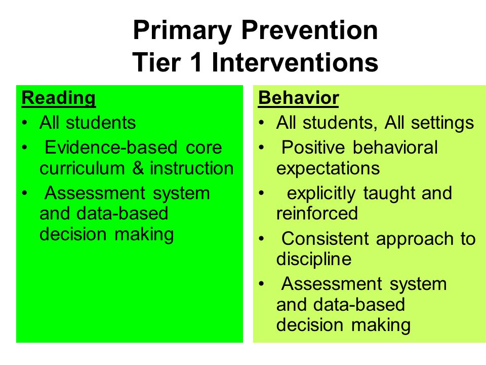 Primary Prevention Tier 1 Interventions Reading All students Evidence-based core curriculum & instruction Assessment system and data-based decision ma