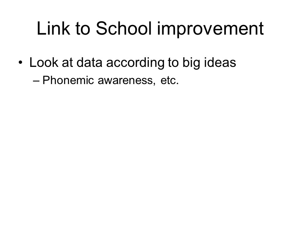 Link to School improvement Look at data according to big ideas –Phonemic awareness, etc.