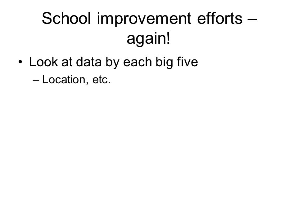 School improvement efforts – again! Look at data by each big five –Location, etc.