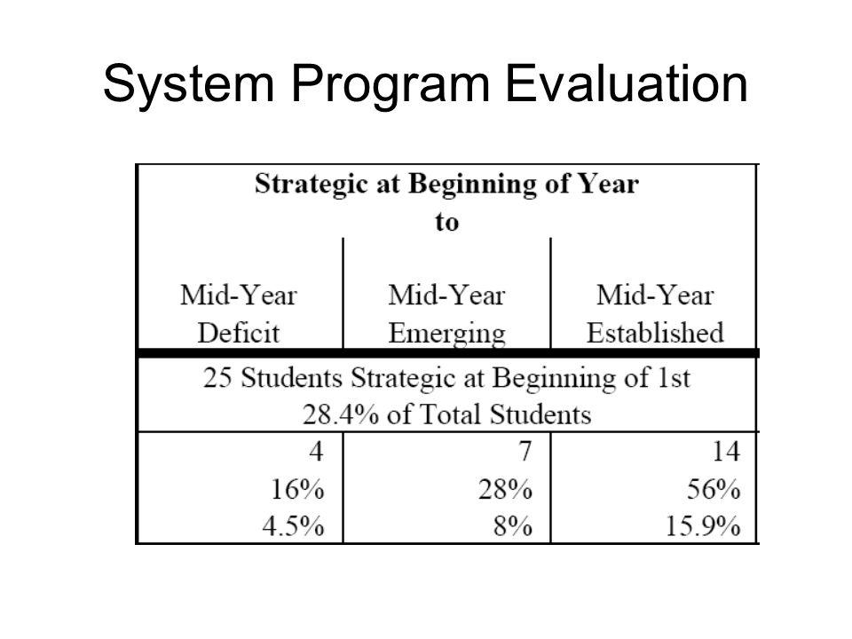 System Program Evaluation