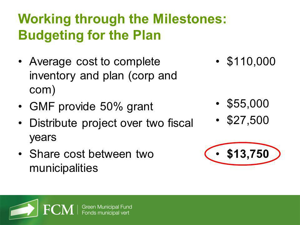 Working through the Milestones: Budgeting for the Plan Average cost to complete inventory and plan (corp and com) GMF provide 50% grant Distribute pro