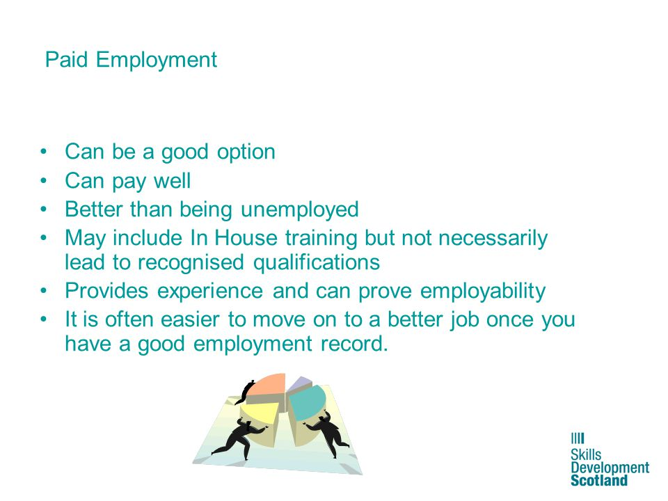 7 Paid Employment Can be a good option Can pay well Better than being unemployed May include In House training but not necessarily lead to recognised