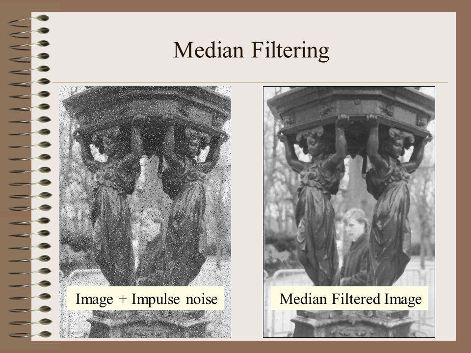 Median Filtering Median Filtered Image Image + Impulse noise