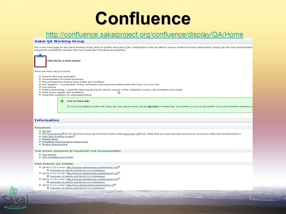 Confluence http://confluence.sakaiproject.org/confluence/display/QA/Home