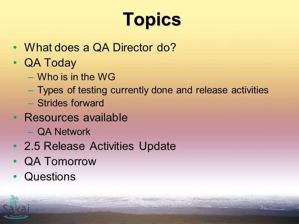 Role of QA Director Coordination.