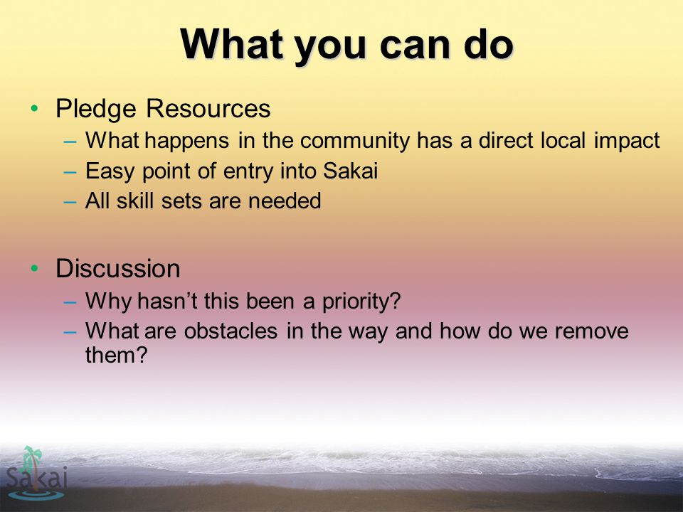 What you can do Pledge Resources –What happens in the community has a direct local impact –Easy point of entry into Sakai –All skill sets are needed Discussion –Why hasn't this been a priority.