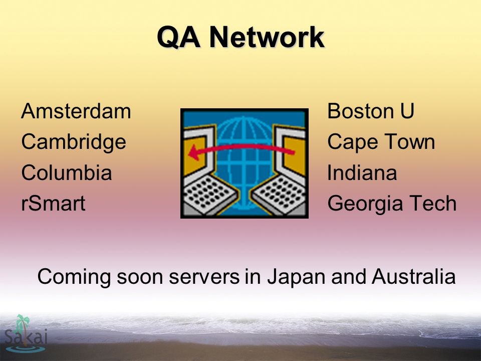 QA Network Amsterdam Boston U Cambridge Cape Town Columbia Indiana rSmart Georgia Tech Coming soon servers in Japan and Australia