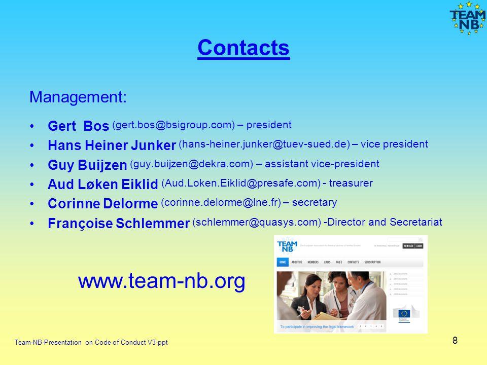8 Contacts Management: Gert Bos (gert.bos@bsigroup.com) – president Hans Heiner Junker (hans-heiner.junker@tuev-sued.de) – vice president Guy Buijzen