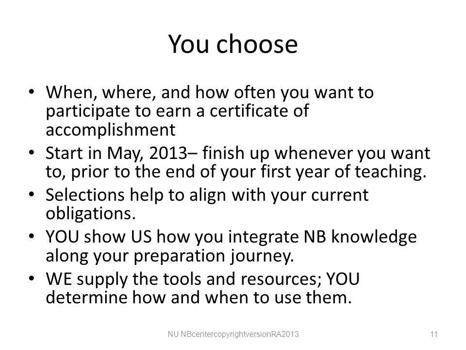 You choose When, where, and how often you want to participate to earn a certificate of accomplishment Start in May, 2013– finish up whenever you want to, prior to the end of your first year of teaching.