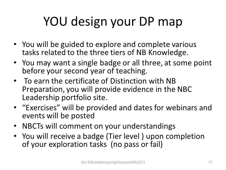 YOU design your DP map You will be guided to explore and complete various tasks related to the three tiers of NB Knowledge.