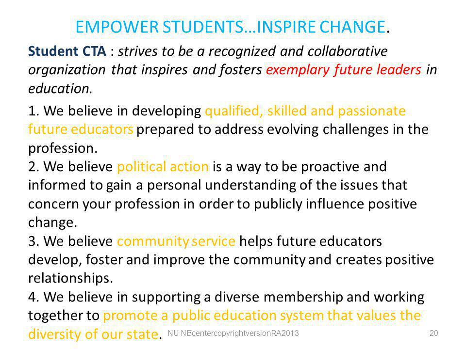 EMPOWER STUDENTS…INSPIRE CHANGE.
