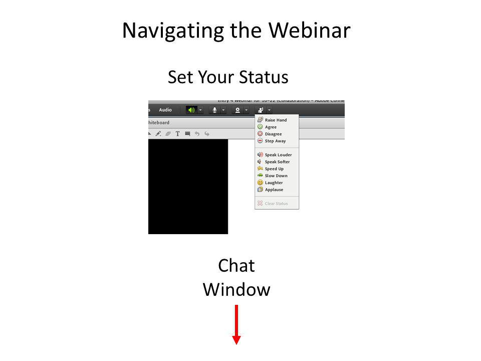 Navigating the Webinar Chat Window Set Your Status