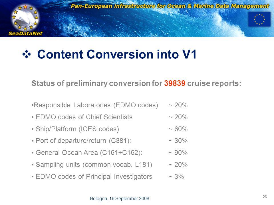OBSERVATIONS & PRÉVISIONS CÔTIÈRES 26 Bologna, 19 September 2008  Content Conversion into V1 Status of preliminary conversion for 39839 cruise reports: Responsible Laboratories (EDMO codes)~ 20% EDMO codes of Chief Scientists ~ 20% Ship/Platform (ICES codes)~ 60% Port of departure/return (C381):~ 30% General Ocean Area (C161+C162):~ 90% Sampling units (common vocab.
