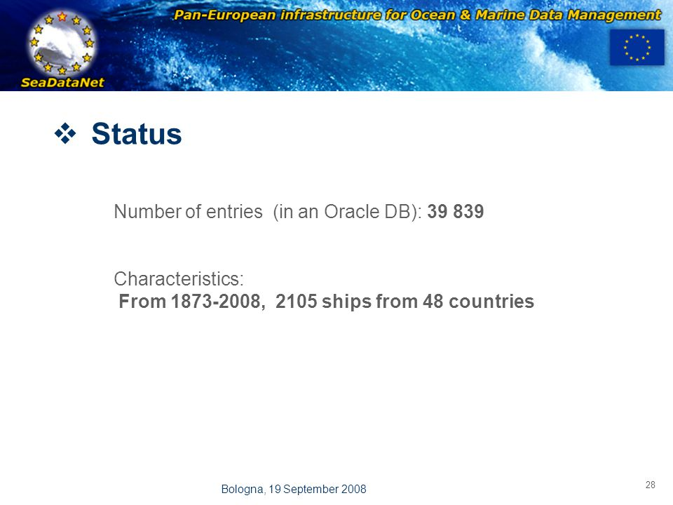 OBSERVATIONS & PRÉVISIONS CÔTIÈRES 28 Bologna, 19 September 2008  Status Number of entries (in an Oracle DB): 39 839 Characteristics: From 1873-2008, 2105 ships from 48 countries