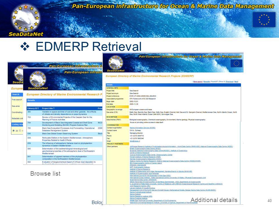 OBSERVATIONS & PRÉVISIONS CÔTIÈRES 40 Bologna, 19 September 2008  EDMERP Retrieval Browse list Additional details