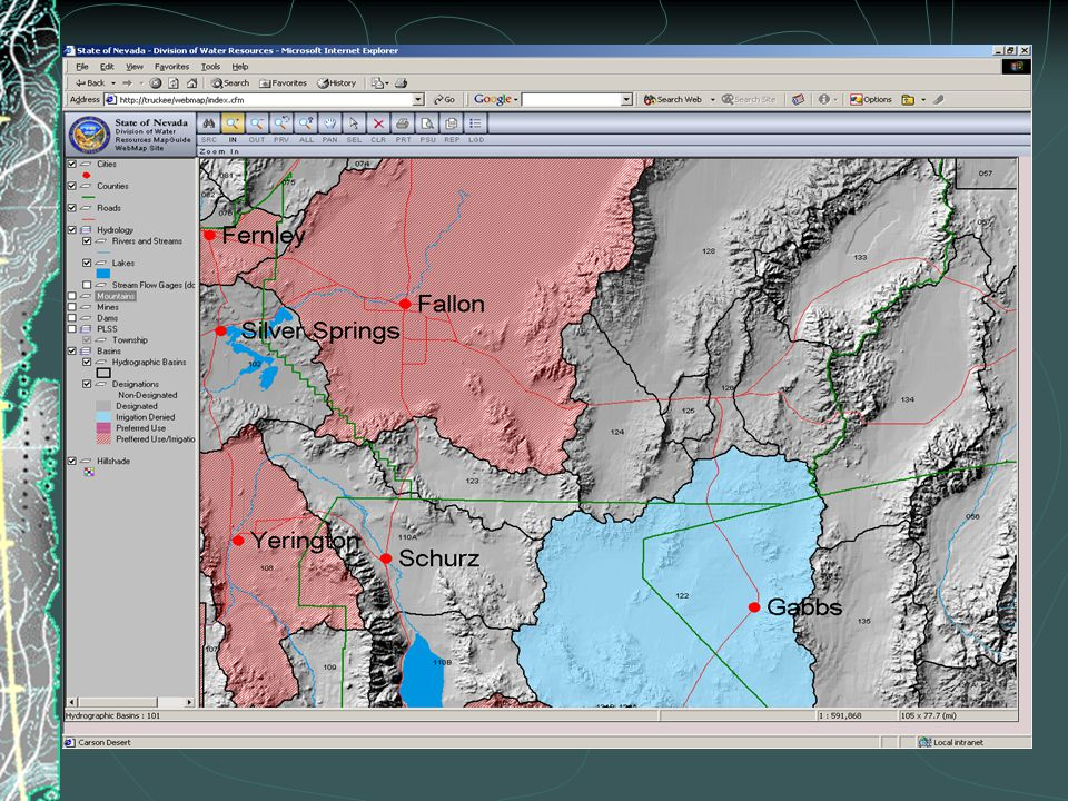 Future Plans  Incorporate Truckee & Carson River CAD data  Incorporate water right ownership data  Add groundwater pumpage and water level data  Improve database queries  Move the site to the Internet