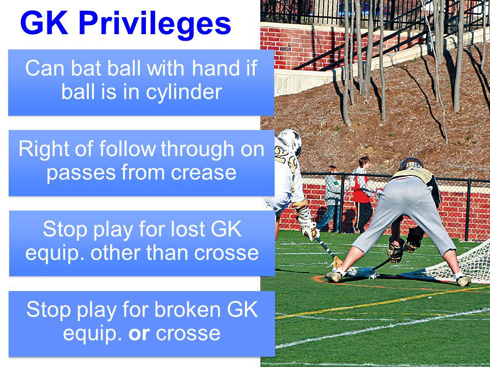 25 GK Privileges Can bat ball with hand if ball is in cylinder Right of follow through on passes from crease Stop play for lost GK equip. other than c