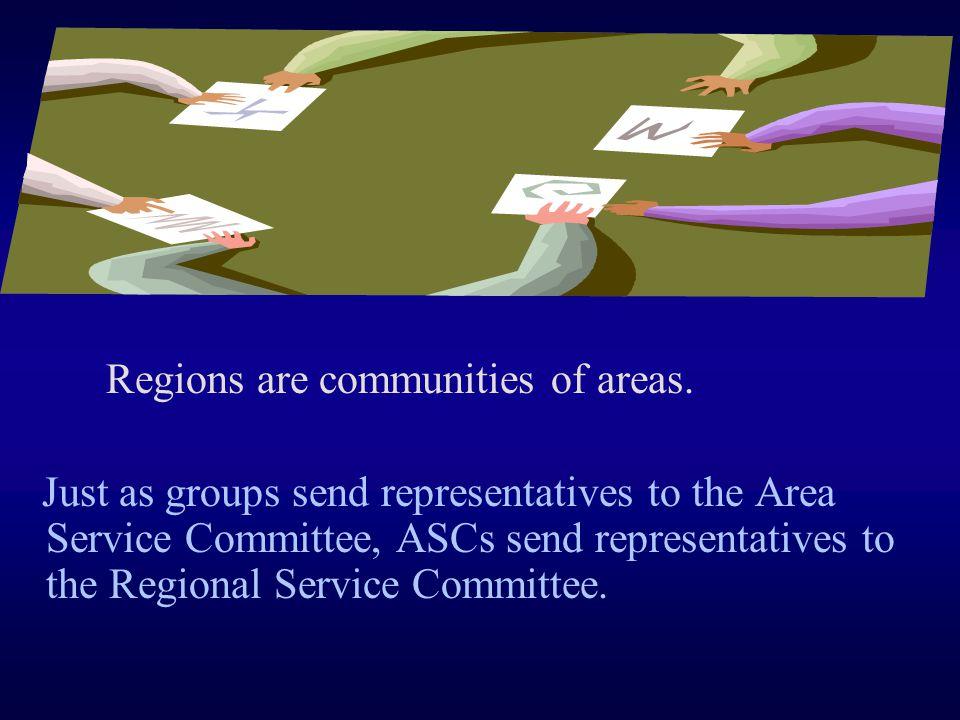 Regions are communities of areas.