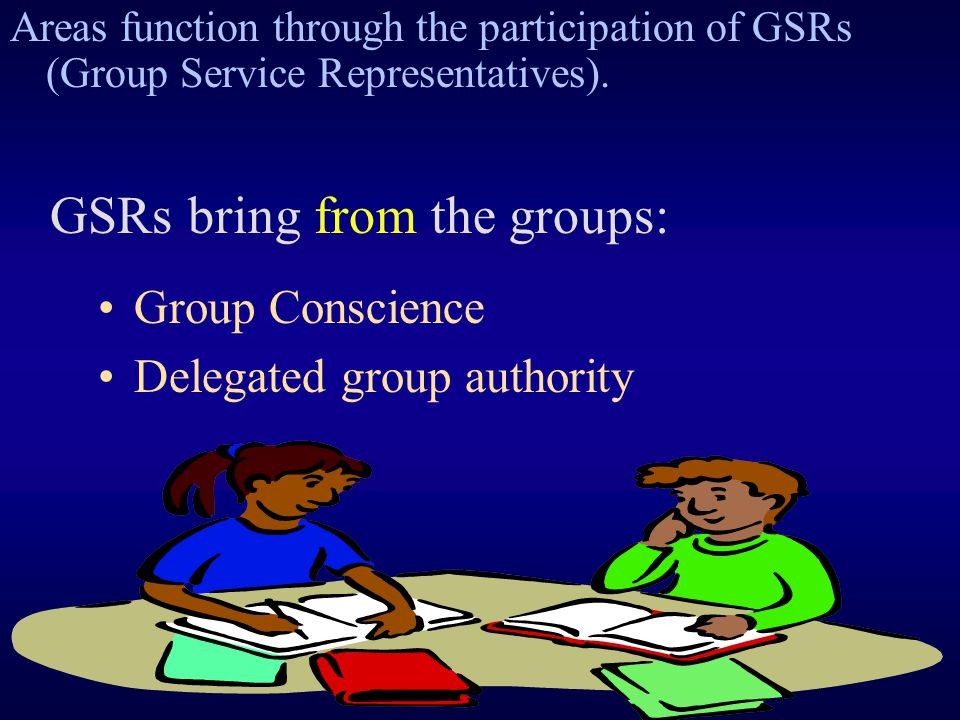 Group Conscience Delegated group authority GSRs bring from the groups: Areas function through the participation of GSRs (Group Service Representatives).