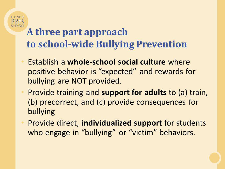 A three part approach to school-wide Bullying Prevention Establish a whole-school social culture where positive behavior is expected and rewards for bullying are NOT provided.