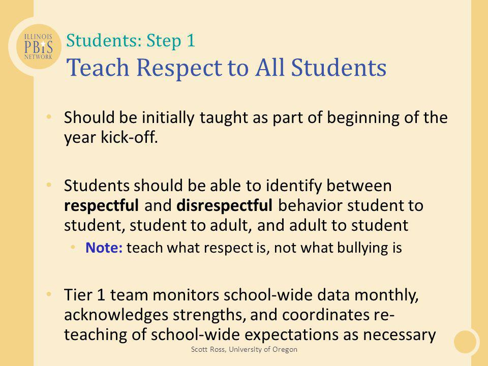 Students: Step 1 Teach Respect to All Students Should be initially taught as part of beginning of the year kick-off.
