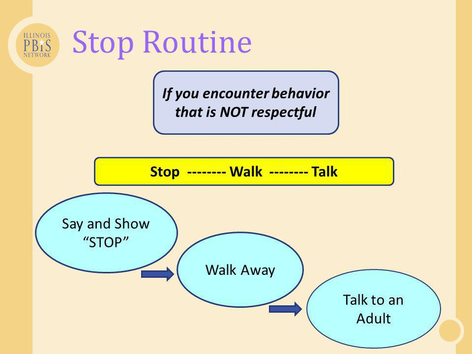 Stop Routine If you encounter behavior that is NOT respectful Say and Show STOP Talk to an Adult Stop -------- Walk -------- Talk Walk Away
