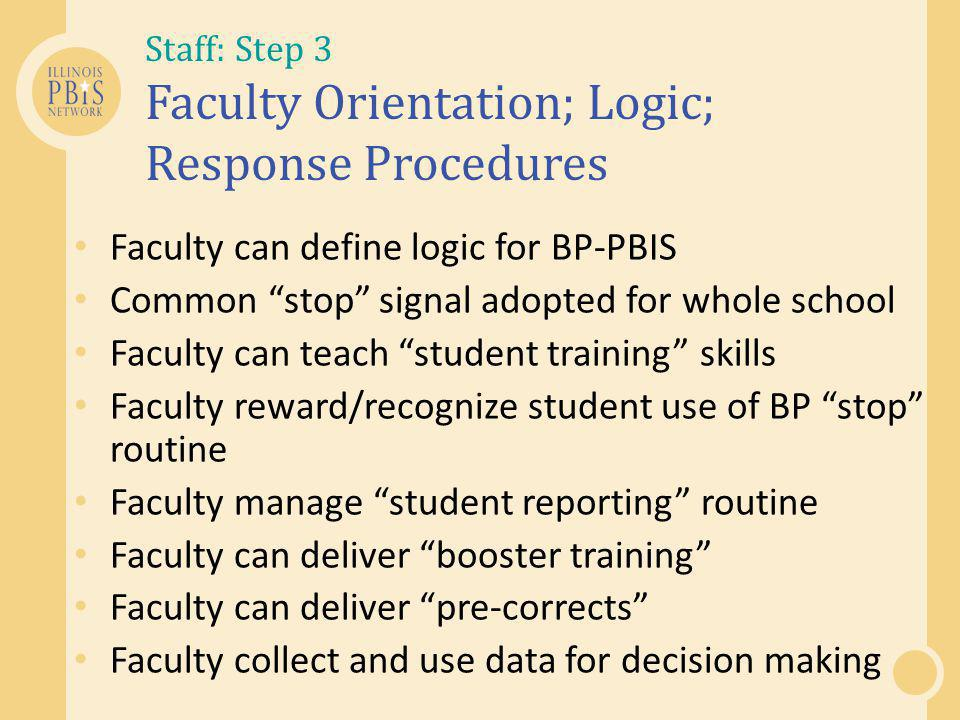 Staff: Step 3 Faculty Orientation; Logic; Response Procedures Faculty can define logic for BP-PBIS Common stop signal adopted for whole school Faculty can teach student training skills Faculty reward/recognize student use of BP stop routine Faculty manage student reporting routine Faculty can deliver booster training Faculty can deliver pre-corrects Faculty collect and use data for decision making