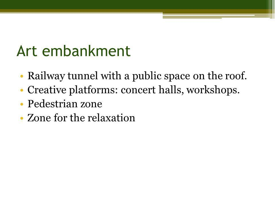 Art embankment Railway tunnel with a public space on the roof. Creative platforms: concert halls, workshops. Pedestrian zone Zone for the relaxation