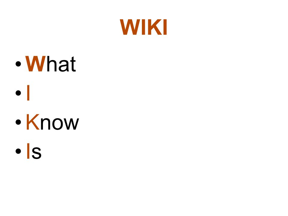 WIKI What I Know Is