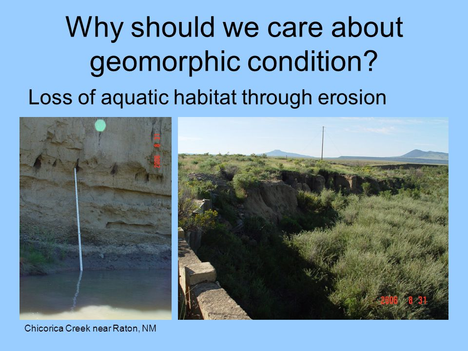 Why should we care about geomorphic condition? Loss of aquatic habitat through erosion Chicorica Creek near Raton, NM