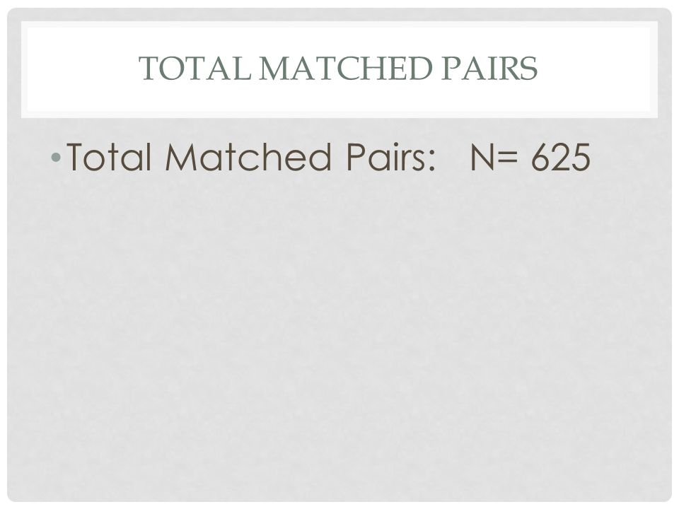 TOTAL MATCHED PAIRS Total Matched Pairs: N= 625