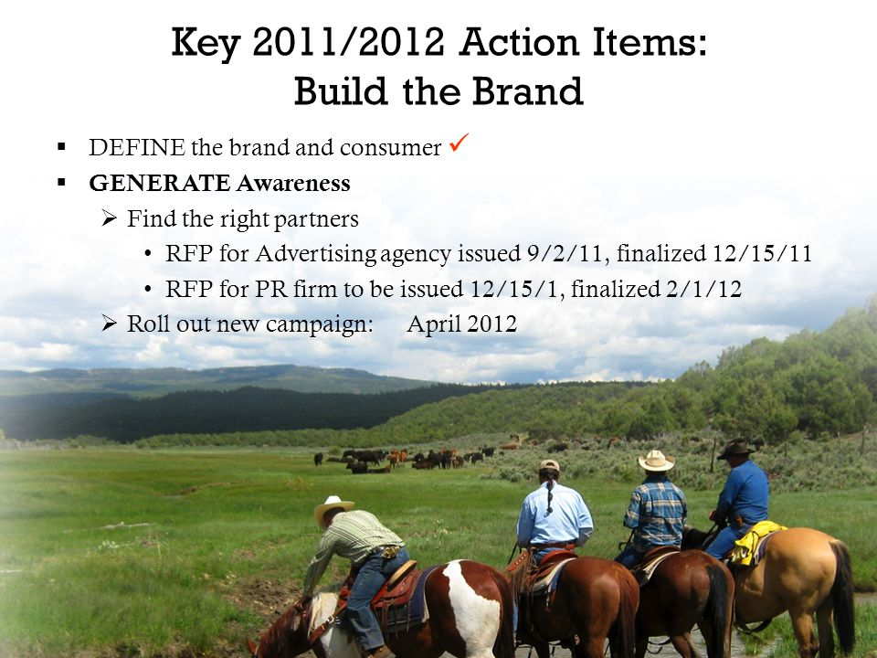 Key 2011/2012 Action Items: Build the Brand  DEFINE the brand and consumer  GENERATE Awareness  Find the right partners RFP for Advertising agency issued 9/2/11, finalized 12/15/11 RFP for PR firm to be issued 12/15/1, finalized 2/1/12  Roll out new campaign:April 2012