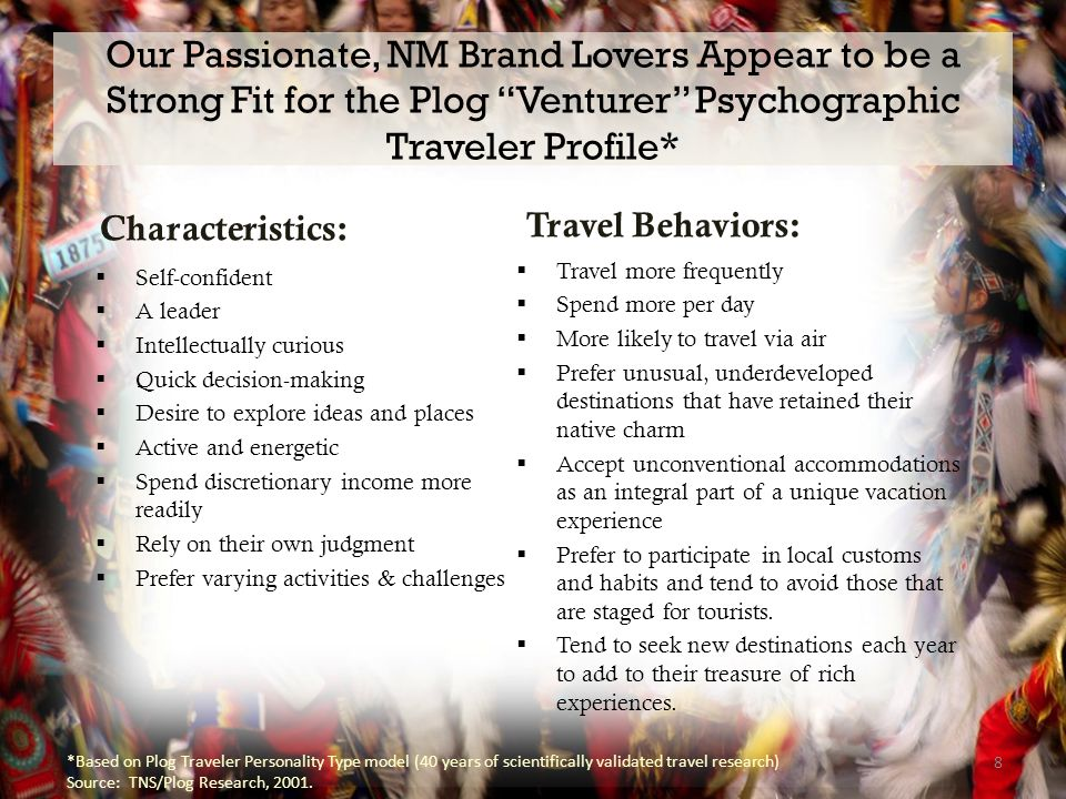 Our Passionate, NM Brand Lovers Appear to be a Strong Fit for the Plog Venturer Psychographic Traveler Profile* Characteristics:  Self-confident  A leader  Intellectually curious  Quick decision-making  Desire to explore ideas and places  Active and energetic  Spend discretionary income more readily  Rely on their own judgment  Prefer varying activities & challenges Travel Behaviors:  Travel more frequently  Spend more per day  More likely to travel via air  Prefer unusual, underdeveloped destinations that have retained their native charm  Accept unconventional accommodations as an integral part of a unique vacation experience  Prefer to participate in local customs and habits and tend to avoid those that are staged for tourists.