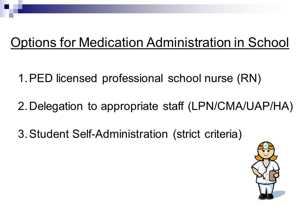 Options for Medication Administration in School 1.PED licensed professional school nurse (RN) 2.Delegation to appropriate staff (LPN/CMA/UAP/HA) 3.Stu