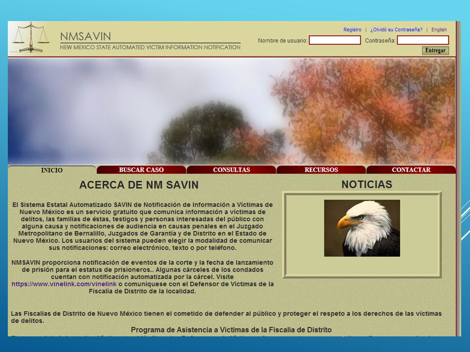 NM SAVIN: 1.To protect the victims' right to be notified of court proceedings in accordance with the New Mexico State Constitution – Victims' Rights.