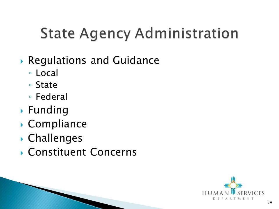  Regulations and Guidance ◦ Local ◦ State ◦ Federal  Funding  Compliance  Challenges  Constituent Concerns 34