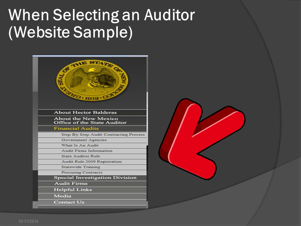 10/11/2014 When Selecting an Auditor (Website Sample)