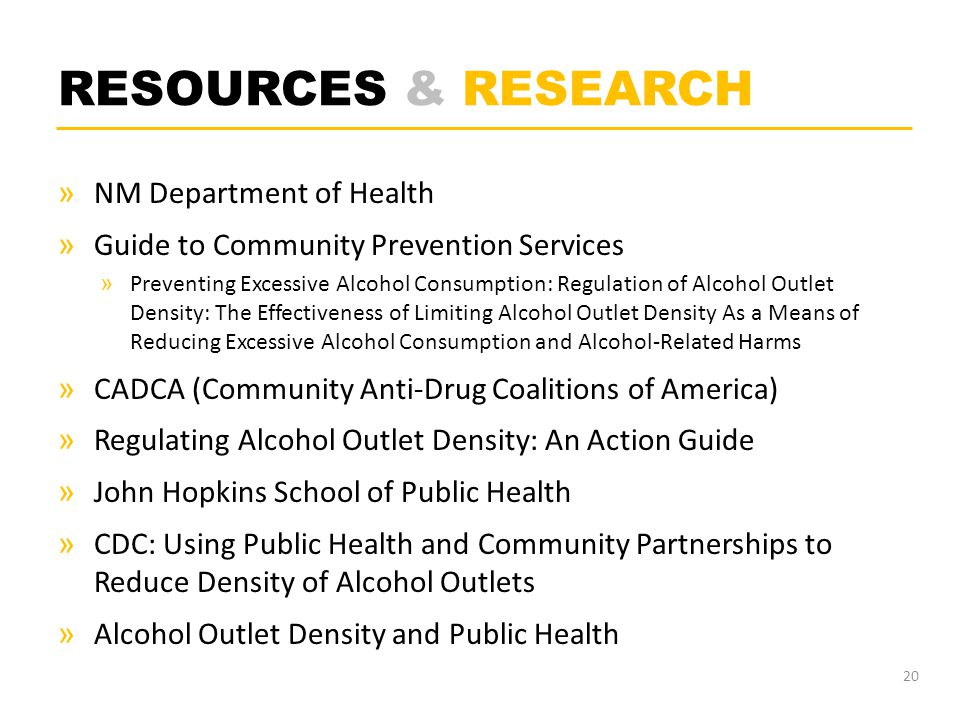 RESOURCES & RESEARCH » NM Department of Health » Guide to Community Prevention Services » Preventing Excessive Alcohol Consumption: Regulation of Alco