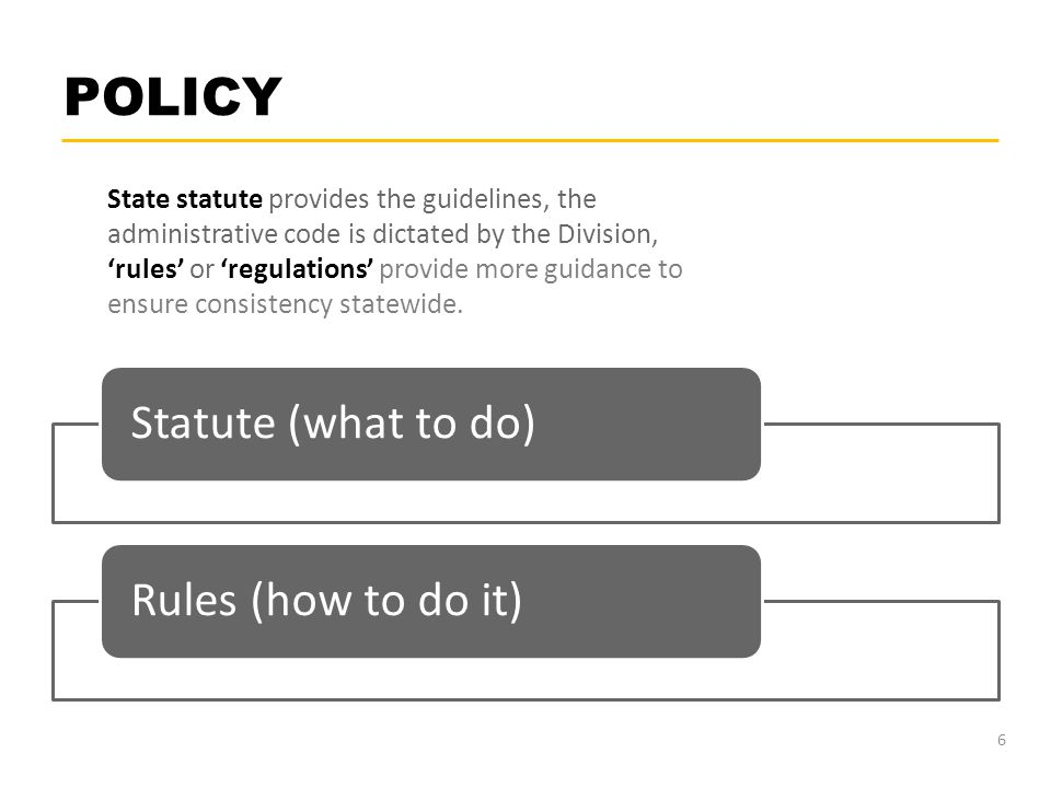 POLICY GovernorStatute (what to do)Rules (how to do it) 6 State statute provides the guidelines, the administrative code is dictated by the Division,