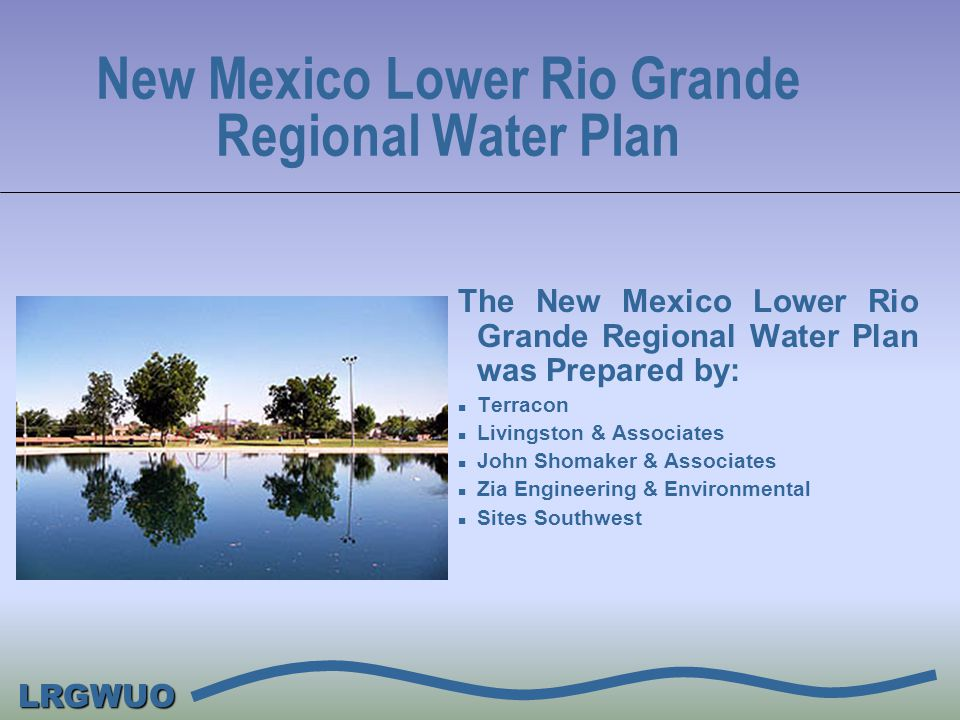LRGWUO New Mexico Lower Rio Grande Regional Water Plan With assistance from the Lower Rio Grande Water Users Organization (LRGWUO): n Anthony Water and Sanitation District n City of Las Cruces n Doña Ana County n Doña Ana Mutual Domestic Water Consumers Association n Elephant Butte Irrigation District n New Mexico State University n Town of Mesilla n Village of Hatch